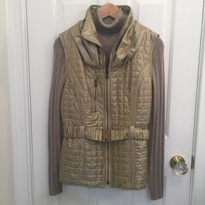 Peck & Peck NWT metallic gold, belted vest, size L